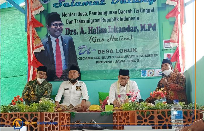 Foto: Menteri Desa PDTT, Abdul Halim Iskandar, saat hadir di Desa Lobuk, Kecamatan Bluto, Sumenep, Madura, Jawa Timur, dalam rangka meninjau pengelolaan Badan Usaha Milik Desa (Bumdes).
